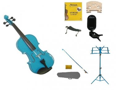 1/10 Blue Violin,Case,Blue Bow+Rosin+2 Bridges+Tuner+Shoulder Rest+Blue Stand
