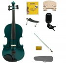 3/4 Size Green Violin,Case,Green Bow+Rosin+Strings+2 Bridges+Tuner+Shoulder Rest