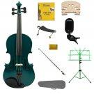 1/10 Green Violin,Case,Green Bow+Rosin+2 Bridges+Tuner+Shoulder Rest+Green Stand