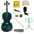 1/10 Green Violin,Case,Green Bow+Rosin+2 Bridges+Tuner+Shoulder Rest+Green Stand+Mute