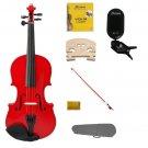 1/16 Size Red Violin,Case,Red Bow+Rosin+2 Sets Strings+2 Bridges+Tuner