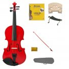1/10 Size Red Violin,Case,Red Bow+Rosin+2 Sets Strings+2 Bridges+Shoulder Rest