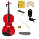 3/4 Size Red Violin,Case,Red Bow+Rosin+Strings+2 Bridges+Tuner+Shoulder Rest