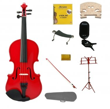 1/8 Red Violin,Case,Red Bow+Rosin+2 Bridges+Tuner+Shoulder Rest+Red Stand