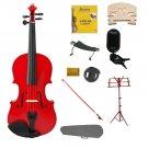 3/4 Red Violin,Case,Red Bow+Rosin+2 Bridges+Tuner+Shoulder Rest+Red Stand+Mute
