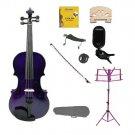 4/4 Purple Violin,Case,Purple Bow+Rosin+2 Bridges+Tuner+Shoulder Rest+Purple Stand+Mute