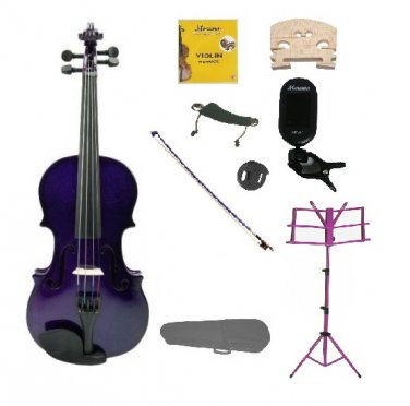 3/4 Purple Violin,Case,Purple Bow+Rosin+2 Bridges+Tuner+Shoulder Rest+Purple Stand+Mute