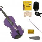 1/16 Size Purple Violin,Case,Purple Bow+Rosin+2 Sets Strings+2 Bridges+Tuner