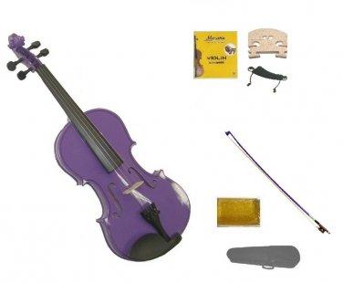 1/2 Size Purple Violin,Case,Purple Bow+Rosin+2 Sets Strings+2 Bridges+Shoulder Rest