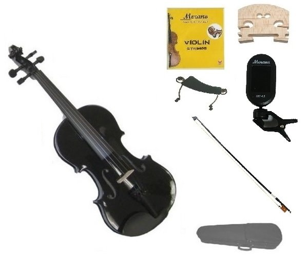 1/10 Size Black Violin,Case,Black Bow+Rosin+Strings+2 Bridges+Tuner+Shoulder Rest