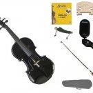 1/16 Size Black Violin,Case,Black Bow+Rosin+Strings+2 Bridges+Tuner+Shoulder Rest