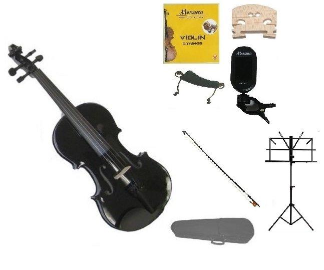 1/8 Black Violin,Case,Black Bow+Rosin+2 Bridges+Tuner+Shoulder Rest+Black Stand
