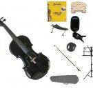 3/4 Black Violin,Case,Black Bow+Rosin+2 Bridges+Tuner+Shoulder Rest+Black Stand+Mute