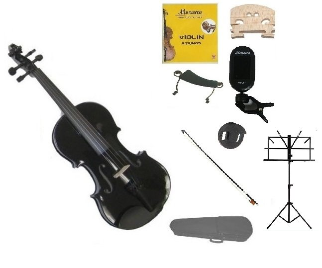 1/4 Black Violin,Case,Black Bow+Rosin+2 Bridges+Tuner+Shoulder Rest+Black Stand+Mute