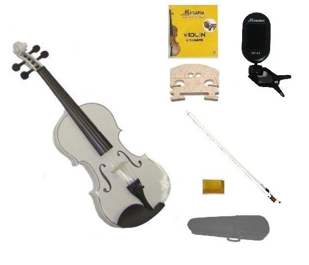 3/4 Size White Violin,Case,White Bow+Rosin+2 Sets Strings+2 Bridges+Tuner