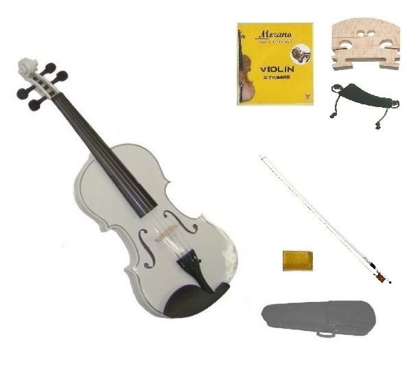 1/10 Size White Violin,Case,Black Bow+Rosin+2 Sets Strings+2 Bridges+Shoulder Rest