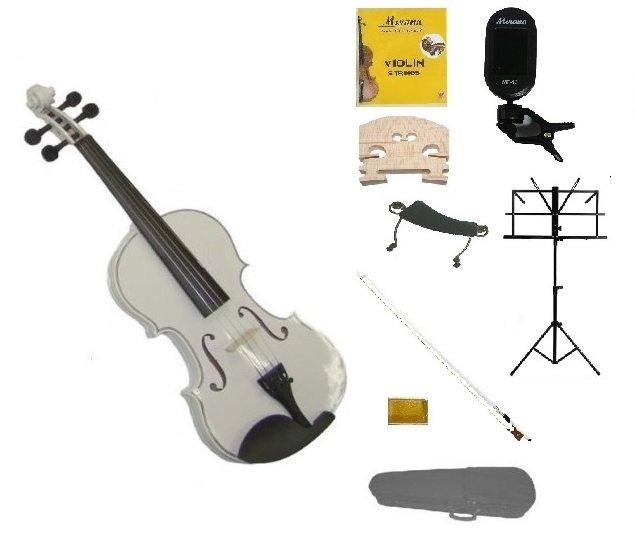 1/10 White Violin,Case,White Bow+Rosin+2 Bridges+Tuner+Shoulder Rest+Black Stand