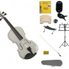 1/10 White Violin,Case,White Bow+Rosin+2 Bridges+Tuner+Shoulder Rest+Black Stand+Mute