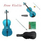 3/4 Size Blue Cello,Blue Bow,Bag,String+3/4 Size Blue Violin Set,Save for 2 Students