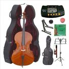 3/4 Size Student Cello,Hard Case,Soft Bag,Bow,Strings,Metro Tuner,2 Stands,Mute