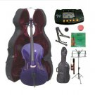 4/4 Size Purple Cello,Hard Case,Soft Bag,Bow,Strings,Metro Tuner,2 Stands,Mute