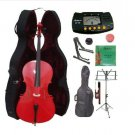 3/4 Size Red Cello,Hard Case,Soft Bag,Bow,Strings,Metro Tuner,2 Stands,Mute