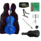 3/4 Size Blue Cello,Hard Case,Soft Bag,Bow,Strings,Metro Tuner,2 Stands,Mute