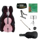 3/4 Size Pink Cello,Hard Case,Soft Bag,Bow,Strings,Metro Tuner,2 Stands,Mute