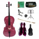 4/4 Size Hot Pink Cello,Hard Case,Soft Bag,Bow,Strings,Metro Tuner,2 Stands,Mute