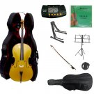 4/4 Size Gold Cello,Hard Case,Soft Bag,Bow,Strings,Metro Tuner,2 Stands,Mute