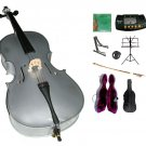 3/4 Size Silver Cello,Hard Case,Soft Bag,Bow,Strings,Metro Tuner,2 Stands,Mute