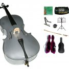 1/4 Size Silver Cello,Hard Case,Soft Bag,Bow,Strings,Metro Tuner,2 Stands,Mute