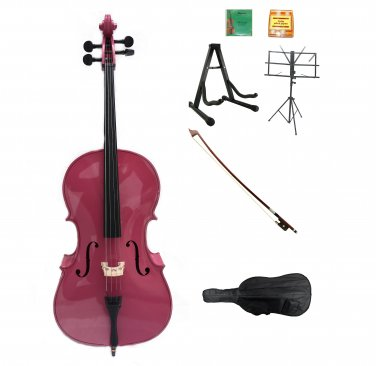 Merano 1/4 Size Hot Pink Cello w/Bag,Bow+Rosin+2 Sets Strings+Tuner+Cello Stand+Music Stand