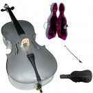 Merano 1/4 Size Silver Cello with Case, Bag, Bow, Rosin