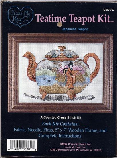 Japanese Teapot Cross Stitch Kit by Cross My Heart