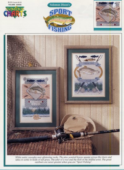 Sport Fishing in Counted Cross Stitch Leaflet by Color Charts