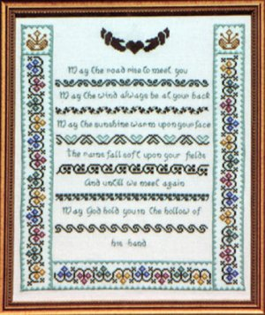 Irish Poem Cross Stitch Sampler ~ May The Road Rise Up To Greet You