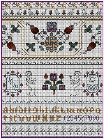 Celtic Autumn 17th Century Style Sampler Cross Stitch Pattern