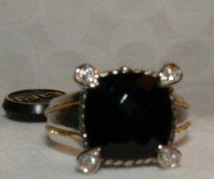 EFFY 18kt Gold /Sterling Black Onyx & Diamond Ring SIZE 7 $874.00.+ NWT