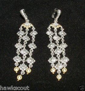 Judith Ripka WINDSOR COLLECTION 18kt Sterling Topaz Chandelier Earrings NEW SALE