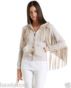 DOLCE & GABANNA FRINGE SWEATSHIRT JACKET WITH HOOD SIZE SMALL NWT 495.+