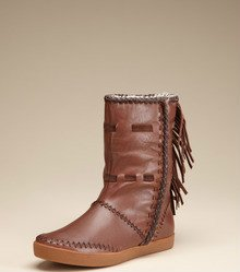 HOUSE OF HARLOW 1960  CHOCOLATE BROWN FRINGE BOOTS SIZE 9.5 / 39.5 NIB