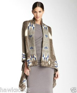 """LINE KNITWEAR """"THE FOLKLORE"""" ALPACE MOHAIR BLEND CARDIGAN SWEATER WRAP NEW $495+"""