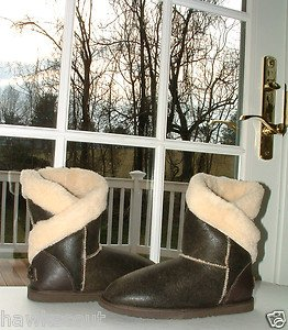 KOOLABURRA JESSICA CAPPUCINO BROWN CRACKLED LEATHER BOOTS SIZE 9 NIB $320.+