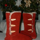 BEARPAW DEEP RED REDWOOD SARAH SHEEPSKIN SHEARLING TOGGLE BOOTS SIZE 8 NWB