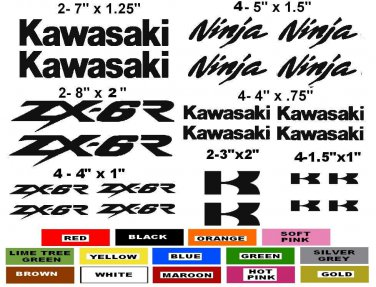 KAWASAKI ZX-6R CHOOSE YOUR COLOR VINYL DECALS STICKERS MOTORCYCLE RACING