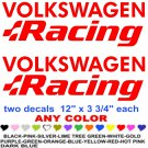 VOLKSWAGEN RACING STICKER DECALS  RACE