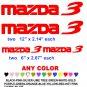 MAZDA 3 STICKERS DECALS  RACE
