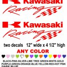 KAWASAKI RACING STICKER DECALS  RACE MOTORCYCLE QUAD 4X4
