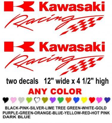 KAWASAKI RACING STICKER DECALS  RACE MOTORCYCLE QUAD 4X4
